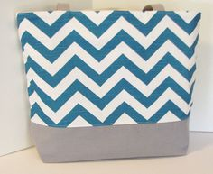 Chevron tote bag . Teal and Gray . chevron beach bag . Single-Size . great bridesmaid gifts . READY To SHIP on Etsy, $35.00