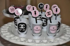 Chanel birthday party treats!  See more party planning ideas at CatchMyParty.com!