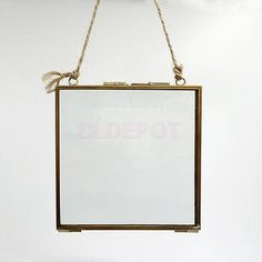 Antique Brass & Glass Hanging Floating Picture Photo Frame, 6.3 x 6.3 inch