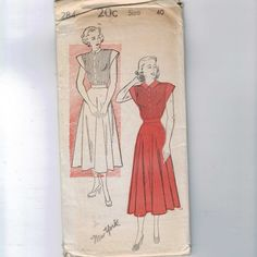 1950s Vintage Sewing Pattern New York 284 Misses Tuck Front Dress with Cap Sleeves Size 40 Bust 40 UNCUT 50s