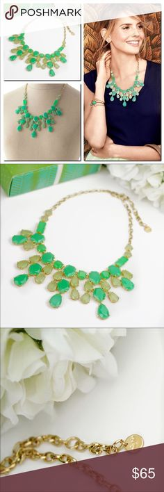 Stella&Dot Linden Green Stone Statement Necklace New in box. No damage. No tarnish   Bright colors, bold shapes and big statements are the jewelry buzz words this season. The gorgeous green Linden Necklace features custom blended stones in tonal shades of jade green, which are hand set in polished brass for a fresh spring time look. The feminine tear drop shaped stones are a beautiful way to break up a neckline, and the soft green shades are a modern look that will tie any outfit together…