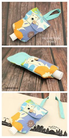 DIY Fabric Hand Sanitizer Cozy/Holder Free Sewing Patterns and Tutorials Hand Sewing Projects, Sewing Projects For Beginners, Sewing Crafts, Sewing Art, Quilting Projects, Sewing Patterns Free, Free Sewing, Purse Patterns, Dress Patterns