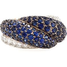 Chopard 18k Sapphire & Diamond Ring ($16,020) ❤ liked on Polyvore featuring jewelry, rings, sapphire, diamond jewellery, 18 karat diamond ring, sapphire rings, chopard rings and band rings