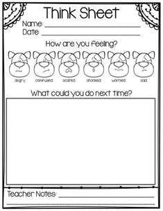 Help your youngest friends manage their behavior and feelings with this Think Sheet. They can easily reflect on how they are feeling - angry, confused, scared, shocked, worried, or sad - by circling a doggy picture. Then, they can come up with a plan (with your help) of how they can better manage their feelings in the future.