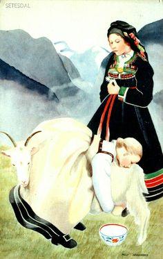 Bunadskort Milly Heegaard Setesdalsbunad. Jente melker geit. Utg Damm postgått 1942 bunad Norge