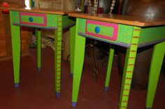 folk art painted furniture | Lime Green and Hot Pink David Marsh Lamp Tables with drawers. Perfect ...