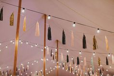 tissue tassel garlands and festoon lights