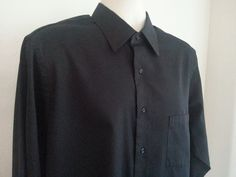 Van Heusen Men's Shirt L Long Sleeve 16 1/2 34/35 Black Solid Satin Polyester #VanHeusen #ebay #VanHeusen #ShirtL