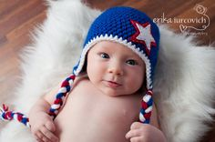 4th of July Baby Hat, Crochet Red White and Blue Stars Boy Hat, Newborn Photo Prop, Patriotic American Hat