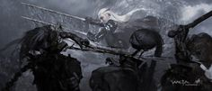 Weta concept art of Thranduil easily dispatching some orcs