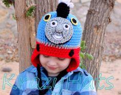 Crochet Thomas the Train hat. Crochet train  hat.