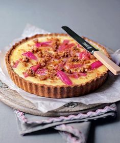If you can't decide whether to make a tart or crumble then make this fabulous rhubarb and custard crumble tart which combines the two desserts.