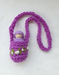 Peg doll necklace wool pouch Waldorf by greenmountain on Etsy