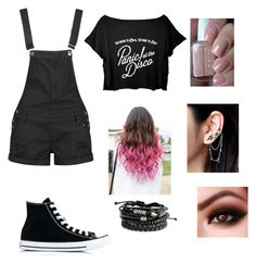 """""""Untitled #1083"""" by catrinel-grigorescu on Polyvore featuring Boohoo, Converse, Essie and Free People"""