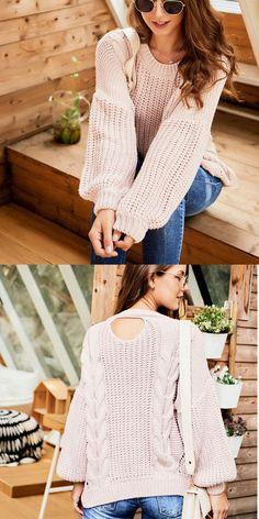 Fashion Knitting Twist Round Neck Sweater Long Sleeve Openwork Women Sweater #sweater #twist Cute Sweaters, Girls Sweaters, Winter Sweaters, Long Sweaters, Cardigans For Women, Long Sleeve Sweater, Sweater Cardigan, Sweater Fashion, Clothes For Women