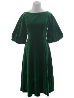 16f2a1a841ac Missing Label 1950s Vintage Cocktail Dress: 50s -Missing Label- Womens  emerald green background
