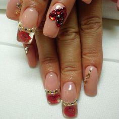Rose nail #nail #nails #red #heart #Padgram