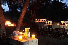 A bush dinner arranged by the Hide Safari Camp