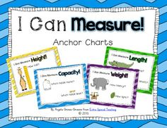 Extra Special Teaching: I Can Measure Anchor Charts (freebie) Measurement Kindergarten, Kindergarten Anchor Charts, Math Measurement, Math Anchor Charts, Preschool Math, Math Classroom, Kindergarten Math, Teaching Math, Measurement Activities