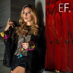 Versátil Caftán negro con puños bordados de nuestra Colección Boutique #trendy #modamexico #mexicanstyle #embroidery #lovefashion