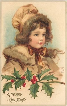 A MERRY CHRISTMAS head and shoulders of girl in brown, bow at neck, holly branch below - TuckDB