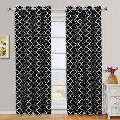Royal Tradition Meridian Room Darkening Thermal Insulated Grommet Window Curtain Panels Polyester Pair ( Set of Printed Curtains, Grommet Curtains, Drapes Curtains, Drapery, Valances, Black White Curtains, Window Panels, Curtain Panels, Striped Room