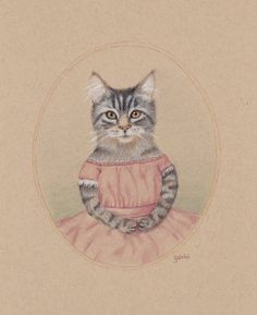 Pretty in Pink Tabby Cat Original Pencil by WhimsicalTailsArt, $60.00
