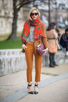 breton + honey cropped trousers + scarf