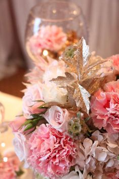 Pink & gold Birthday Party flowers! See more party planning ideas at CatchMyParty.com!