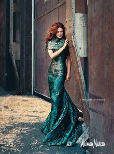 Drew Barrymore and Carolina Herrera Fall 2011 RTW Structured Metallic Jacquard Gown Photograph