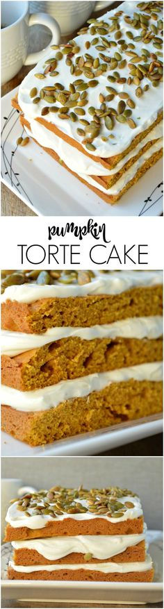 Pumpkin Torte Cake is a holiday favorite! A basic quick bread recipe baked in a sheet pan, stacked, and then piled high with the best cream cheese frosting.