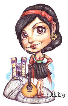 Pin-Up Cartoon Xeinha fadista (fado singer)