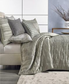 Hotel Collection Iridescence Grey KING Quilted Coverlet #HotelCollection #Contemporary Mattress In A Box, Metallic Yarn, Quilted Bedspreads, Subtle Textures, Mattress Brands, Space Furniture, Abstract Styles, Bedding Collections, Smart Home