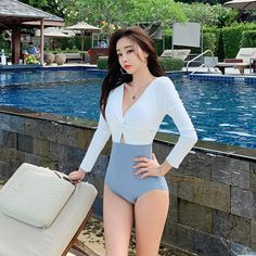 Rhyme Lady Girl Bikini Custom Logo Monokini One Piece Long Sleeve Swimsuit for Women Wholesale Lady Swimwear #swimwear #swimsuit #swim #bikini #beachwear