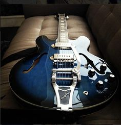 The Gary Clark Jr. Black and Blue Epiphone Casino with a Bigsby Vibrato.