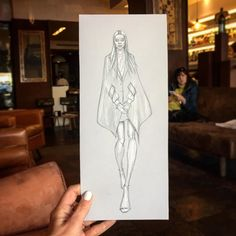 ...as she came in for a coffee everyone was staring at her!  @stellaluciadeopito wearing I can't remember what (help)! #fashion #portrait #sketch #pencil #runwayshow #fashionshow #drawing #doodle #fashionweek #fall17 #fashiondrawing #fashionillustration