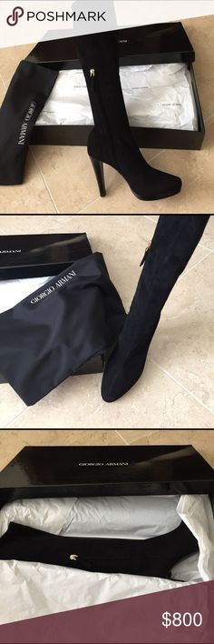 """✨GIORGIO ARMANI✨NEW✨Black suede heeled boots✨Zip✨ Gorgeous!!!!Brand new. Box has a little piece missing on the edge. I ripped it when I picked it up. Black suede. Size 37/7. 20"""" from top to bottom of heel. Heel is 4.25"""" never even taken the other shoe out of the box. I wouldn't be selling these but I moved to Florida. Giorgio Armani Shoes Heeled Boots"""