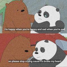 Cute Panda Wallpaper, Cartoon Wallpaper Iphone, Sad Wallpaper, We Bare Bears Wallpapers, Panda Wallpapers, Cute Cartoon Wallpapers, Ice Bear We Bare Bears, We Bear, Cartoon Network
