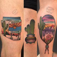 Pretty Tattoos, Beautiful Tattoos, Body Art Tattoos, Sleeve Tattoos, Desert Tattoo, Arizona Tattoo, Cup Tattoo, Cactus Tattoo, Landscape Tattoo