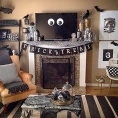 Halloween living room decor with black, white and metallic! This HomeGoodsHappy image via Instagram.