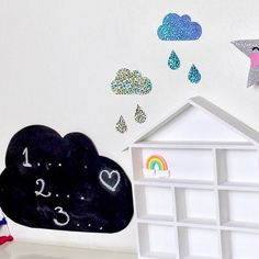 Goood morning! Back to reality today✨ These #holographic #cloud and stars are finally on the website. They're so pretty and reflect all of the #colours of the rainbow at different angles.Find them with the weather wall decals. You can also find the house shelves, cloud chalkboard decal and ribbon garlands on the website too. . . . #clouddecor #stars #shiny #rainbowribbon #mpsandtsc #uniquepartygifts #smallbusiness #supportsmall #instagirls #instaboy  #handmade #handcrafted #instakids…