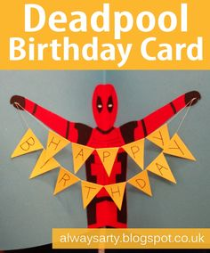 Deadpool birthday card with bunting - Always Arty