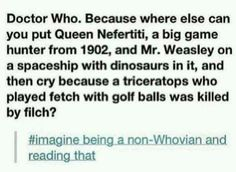 Imagine being a non whovian