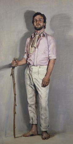 Michaël Borremans (Belgian, b. 1963), The Avoider, 2006. Oil on canvas, 360 x 180 cm. The High Museum of Art, Atlanta.