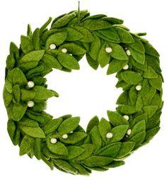Share and get a 10% off coupon code! Green Felt Wreath with Mistletoe Accents / Felt Theme Christmas decor Wreath