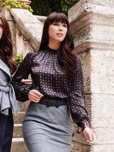 burda style: Damen - Blusen & Tuniken - Blusen - Bluse - Kräusel, Stehkragen