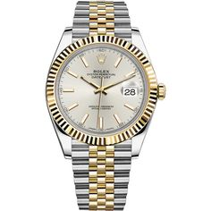 Rolex Datejust 41mm Steel and Yellow Gold 126333 Silver Index Jubilee... (€10.230) ❤ liked on Polyvore featuring men's fashion, men's jewelry, men's watches, stainless steel, mens gold watches, rolex mens watches, mens silver watches, stainless steel mens watches and mens gold and silver watches