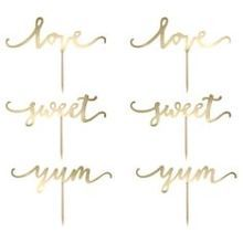 Cupcake Topper Sweet Love In Gold Caketopper Hocheit