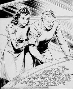 Flash Gordon (Comic Strip, by Alex Raymond Comic Book Artists, Comic Artist, Comic Books Art, Flash Gordon Comic, Ligne Claire, Bd Comics, Classic Comics, Comic Page, Vintage Comics