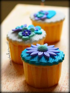 purple blue fondant cupcakes by AnisBakery.net, via Flickr